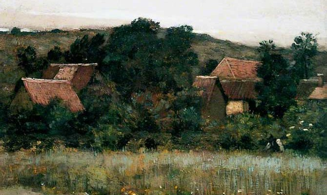 "Marie Cazin ""Village among Trees"""