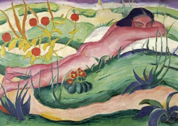 Franz Marc - Nude Lying In The Flowers.
